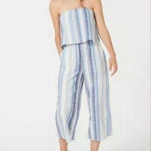 Bebop Light Blue Striped Strapless Jumpsuit Size M